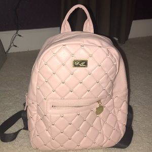 "Betsey Johnson ""Luv betsey"" pink quilted backpack"